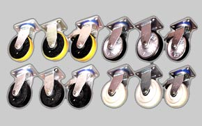 Industrial casters with different type wheels from Nylon-6, Urethane wheels, rubber casters, plyurethane casters, to swivel casters
